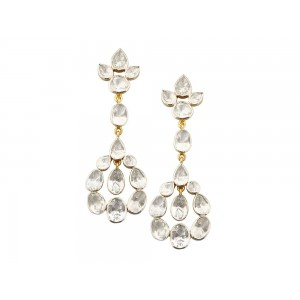 Silver Gold Plated Crystal Polki Earring