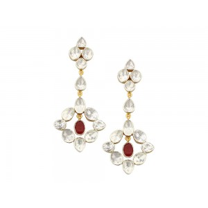 Silver Gold Plated Crystal Polki & Ruby Earring