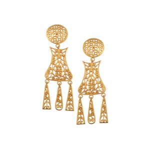 Silver Alloy Gold Plated Dangler Floral Earring
