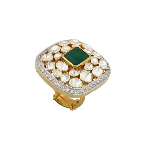 Silver Gold Plated Crystal Polki, Green Onyx & Zircon Ring