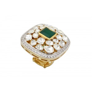 Silver Gold Plated Square Green Onyx, Crystal Polki & Zircon Ring