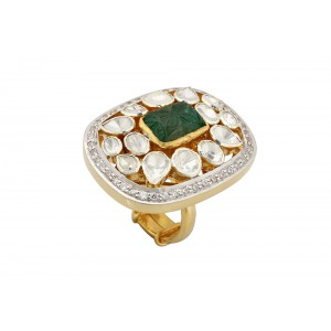 Silver Gold Plated Emrerald Carving, Crystal Polki & Zircon Ring