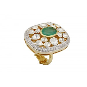 Silver Gold Plated Green Onyx, Crystal Polki & Zircon Ring