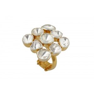 Silver Gold Plated Traditional Square Crystal Polki Ring