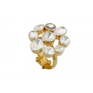 Silver Gold Plated Traditional Crystal Polki Ring