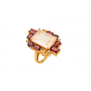 Silver Gold Plated Rose Quartz, Garnet, Citrine & Zircon Ring