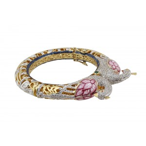 Silver Gold Plated Kundan Meena with Ruby, Green Onyx, Tsavorite, Crystal Polki & Zircon Peacock Bangle