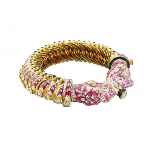 Silver Gold Plated with Kundan Meena Polki Work Peacock Designer Bangle