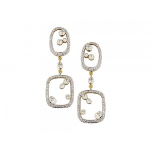 Silver Gold Plated Crystal Polki & Zircon Earring