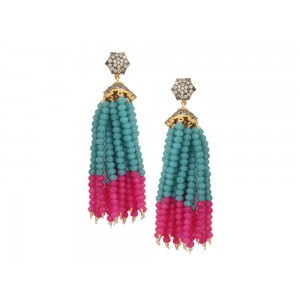 Silver Alloy Gold Plated with Black Rhodium Zircon, Green & Pink Beads Jhumki