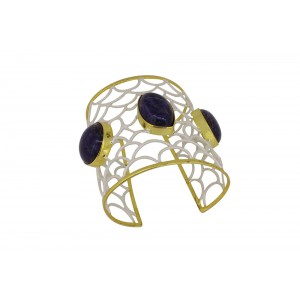 Silver Gold Plated Lapis Handcuff