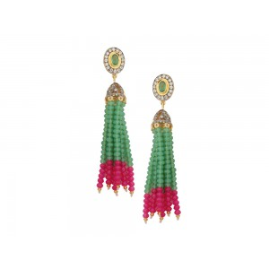 Silver Alloy Gold Plated with Black Rhodium Multi Stone, Green & Pink Beads Jhumki