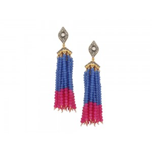 Silver Alloy Gold Plated with Black Rhodium Multi Stone, Blue & Pink Beads Jhumki