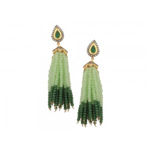 Silver Alloy Gold Plated with Black Rhodium Multi Stone, Green & Off Green Beads Jhumki
