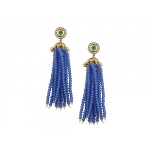 Silver Alloy Gold Plated with Black Rhodium Zircon & Blue Beads Jhumki