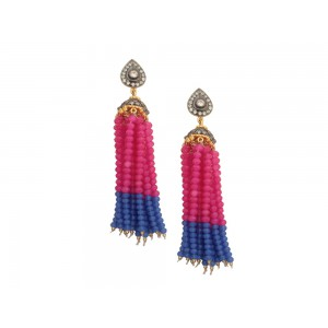 Silver Alloy Gold Plated with Black Rhodium Multi Stone, Zircon & Blue & Pink Beads Jhumki