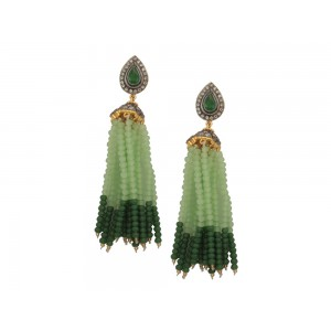 Silver Alloy Gold Plated with Black Rhodium Multi Stone, Green & Light Green Beads Jhumki
