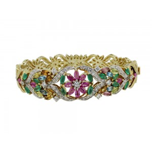 Silver Gold Plated Multi Gemstone & Zircon Floral Bangle