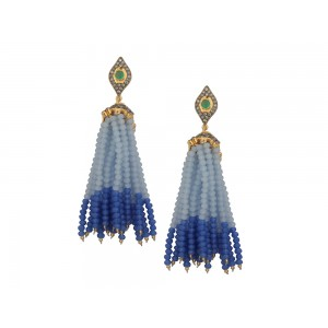Silver Alloy Gold Plated with Black Rhodium Multi Stone, Blue & Off Blue Beads Jhumki