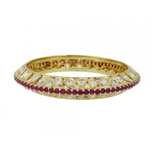 Silver Gold Plated Ruby & Crystal Polki Bangle