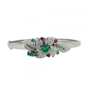 Silver Ruby, Green Onyx, Tsavorite & Zircon Bangle