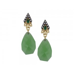 Silver Gold Plated with Black Rhodium Peridot Hydro, Green Onyx & Zircon Earring