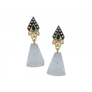Silver Gold Plated with Black Rhodium Moon Stone Hydro, Green Onyx & Zircon Earring