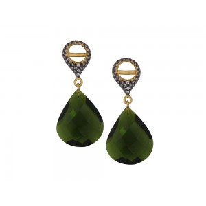 Silver Gold Plated with Black Rhodium Green Hydro & Zircon Earring
