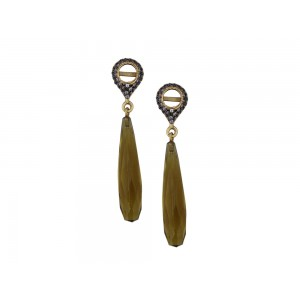 Silver Gold Plated with Black Rhodium Beer Hydro & Zircon Earring