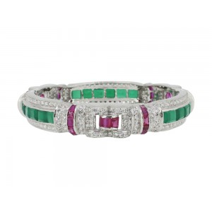 Silver Green Onyx, Ruby & Zircon Bangle