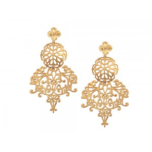 Silver Alloy Gold Plated Charki Floral Earring