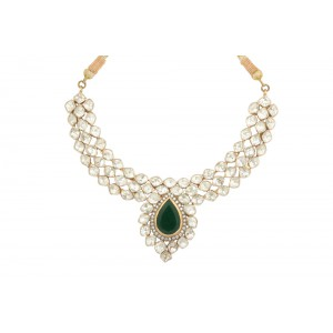 Silver Gold Plated with Black Rhodium Crystal Polki, Green Onyx & Zircon Necklace Set
