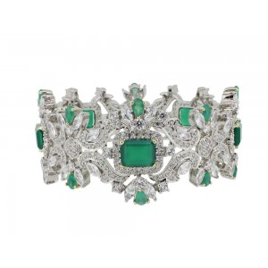 Silver Green Onyx & Zircon Designer Bangle