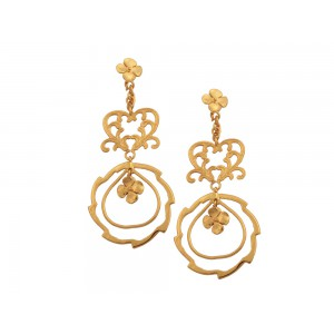 Silver Alloy Gold Plated Dangler Floral Stud Earring