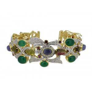 Silver Gold Plated Tourmaline, Tenaznite, Garnet, Green Onyx & Zircon Bangle
