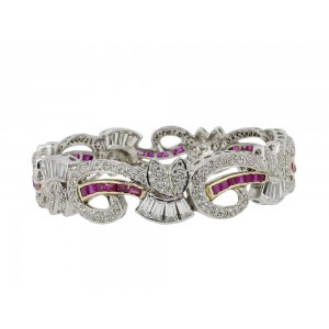 Silver Gold Plated Ruby & Zircon Bangle