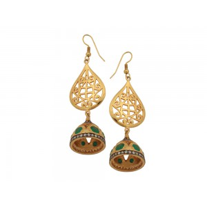 Silver Alloy Gold Plated Green Onyx & Zircon Jhumki