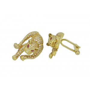 Silver Gold Plated Ruby & Zircon Tiger Cufflink