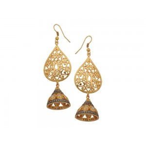Silver Alloy Gold Plated Zircon Jhumki