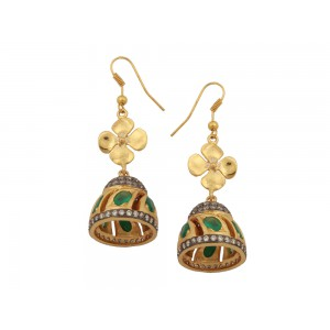 Silver Alloy Gold Plated Green Onyx & Zircon Floral Jhumki