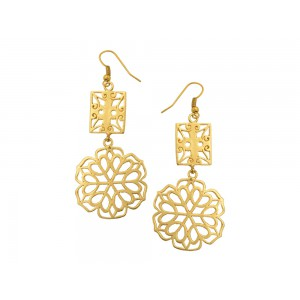 Silver Alloy Gold Plated Charki Dangler Hook Earring