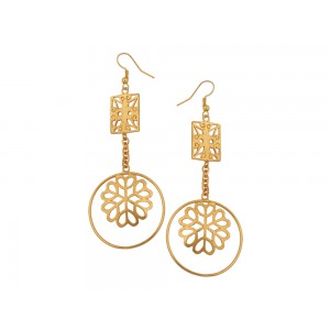 Silver Alloy Gold Plated Charki Dangler Earring