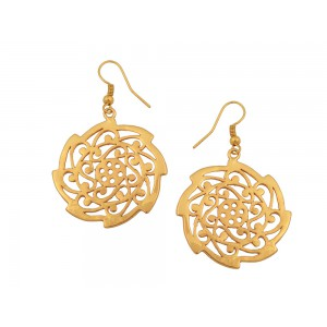 Silver Alloy Gold Plated Chakri Earring