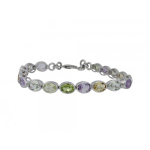 Silver Multi Gemstone Oval Bracelet