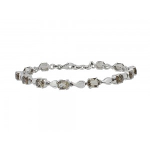 Silver Smoky Quartz Fish Bracelet