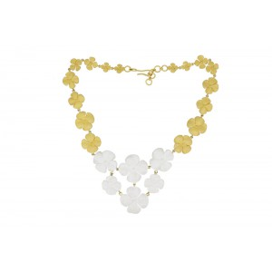 Silver Alloy Gold Plated Floral Necklace Set