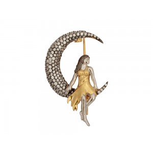 Silver Gold Plated with Black Rhodium Zircon Moon with Lady Brooch