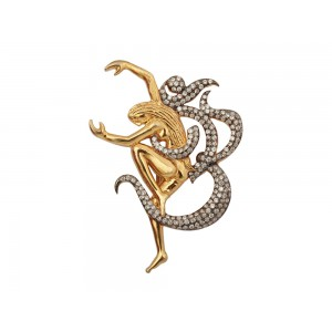 Silver Gold Plated with Black Rhodium Zircon OM Brooch