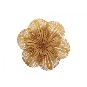 Silver Gold Plated Big Floral Brooch