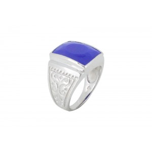 Silver Alloy Navy Blue Hydro Glass Filigree Ring